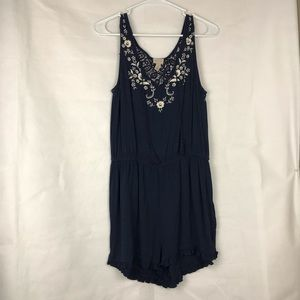 Cape Juby Navy embroidered woven Romper size S/P